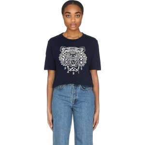Kenzo- 'Ikat' Tiger Cropped Boxy T-Shirt - Midnight Blue