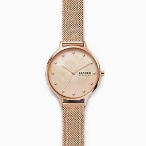 SKAGEN DENMARK金色金属表带手表