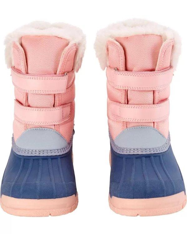 儿童雪靴,靴口可卷起
