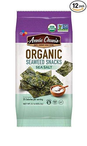 $6.66 健康小零食 手慢无闪购:Annie Chun's 有机海盐烤海苔 0.16oz 12包