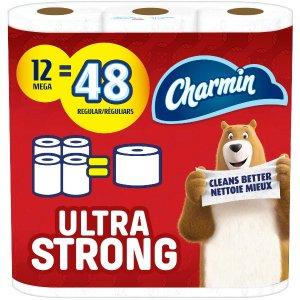 $16.98(原价$20.99)Charmin 超柔软卫生纸12卷 超大卷 一卷顶4卷 云朵般柔软
