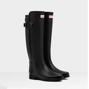 Hunter女款Slim Fit黑色高筒雨靴