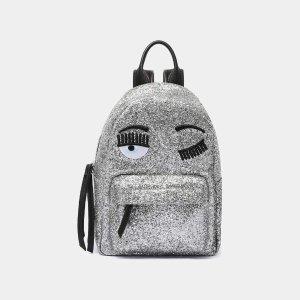 Chiara FerragniSilver Glitter Small Backpack