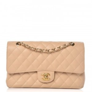 CHANEL Caviar Quilted Medium Double Flap Beige Clair 288061