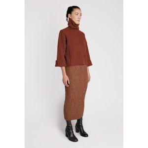 Wool Blend Stretch Knit Crop Sweater