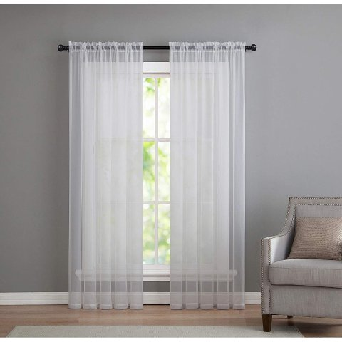 GoodGram 2 Pack: Basic Rod Pocket Sheer Voile Window Curtain Panels
