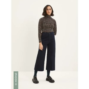 Frank And OakThe Josephine Cropped Wide-Leg Pant in Navy
