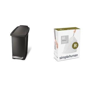 $17.99 包邮 送60个垃圾袋simplehuman 脚踩打开式黑色塑料垃圾桶 10L