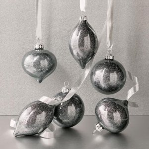 Gunmetal-flecked Accent Ornaments, Set of Six | Frontgate