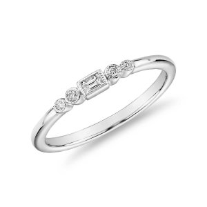 Blue NileDiamond Baguette and Dot Fashion Ring in 14k White Gold (1/10 ct. tw.) | Blue Nile