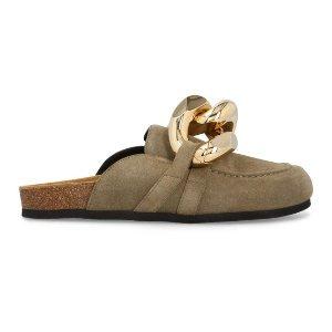 JW Anderson麂皮粗金链乐福鞋