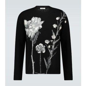 ValentinoS/XL,73%羊毛 27%羊绒花朵羊绒混纺毛衣