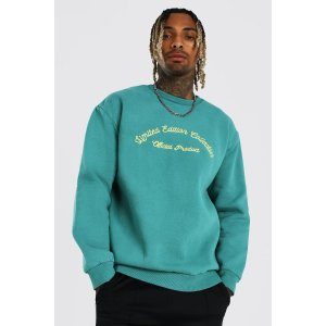 boohooMANLoose Heavyweight Overdyed Embroidered Sweater | boohooMAN