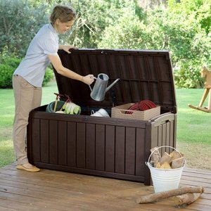 Keter Glenwood Plastic Deck Storage Container Box Outdoor Patio Furniture 101 Gal, Brown