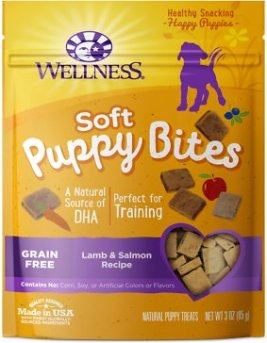 Wellness Soft Puppy Bites Grain-Free Lamb & Salmon Recipe Dog Treats, 3-oz - Chewy.com