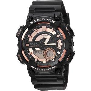 CasioMen's Telememo Quartz Watch with Resin Strap, Black, 28 (Model: AEQ-110W-1A3V)