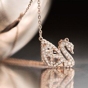 SwarovskiFacet Swan Necklace - Rose Gold/Black