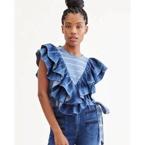 7 For All MankindSleeveless Belted Ruffle Top in Indigo Tie Dye