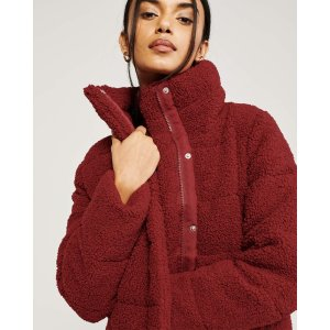 Abercrombie & FitchL XL迷你羊羔毛摇粒绒棉服外套