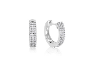 Dealmoon exclusive!Sterling Silver 1/4 Carat Diamond Hoop Earrings, 1/2 Inch @ SuperJeweler