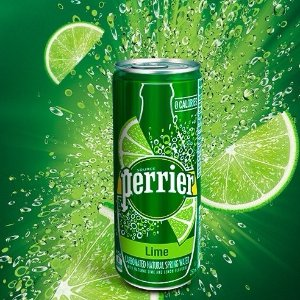 $13PERRIER Lime Flavored Sparkling Mineral Water 8.45 fl oz. Slim Cans Pack of 30