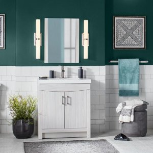 Cordana Bath Vanity in Elm Sky w/ Cultured Marble Vanity Top in White w/ White Sink and Mirror