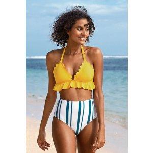 Cupshe$10 off $70Beach Days Ruffle and Striped High Waisted Bikini