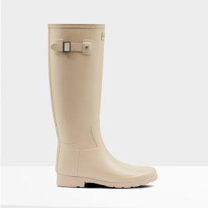 Hunter淡奶茶色Slim Fit 女士长筒雨靴