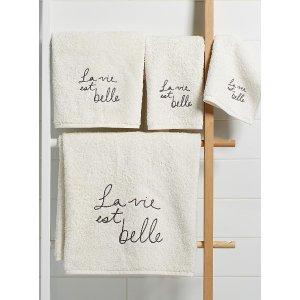 字母印花毛巾