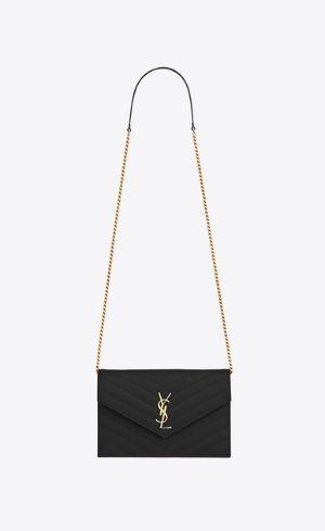 Saint Laurent Envelope Chain Wallet In Black Textured Matelassé Leather | YSL.com