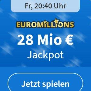 周五开奖 Lottoheld没有手续费EuroMillions 彩票奖金累计2800万欧元  1000次机会只要1欧