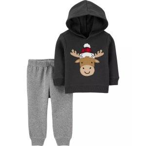 Carter's2-Piece Reindeer Fleece Hoodie & Jogger Set