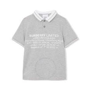 Burberry女士黄金码!Kids Grey Melange Location Shirt