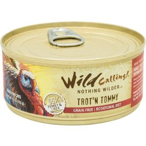 Wild Calling Trot'n Tommy Turkey Recipe Grain-Free Adult Canned Cat Food, 5.5-oz, case of 24
