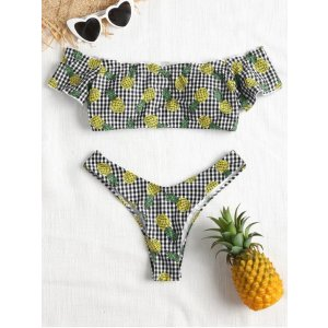 Off Shoulder Gingham Pineapple Bikini Set