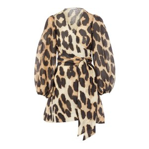 GanniLeopard Print Silk and Linen-Blend Wrap Dress