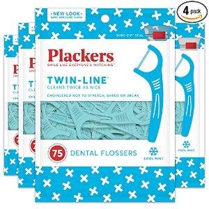 $8.63 (原价$17.00)Plackers Twin-Line牙线 75支 x 4包 共300支