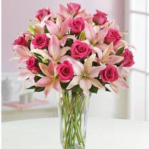 鲜花花束+透明花瓶