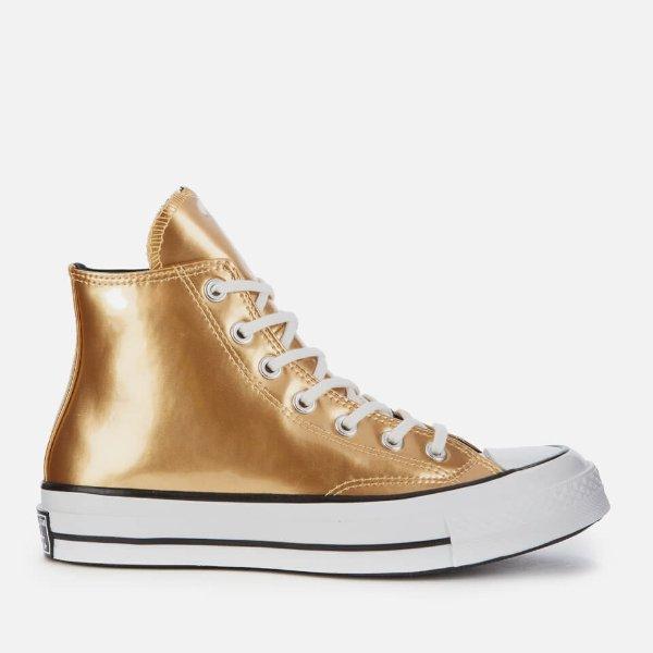 金色高帮鞋