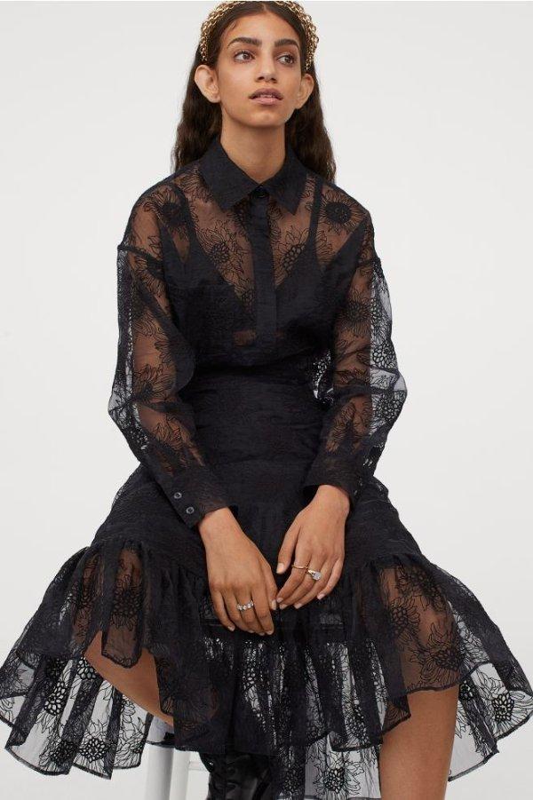 半透蕾丝裙