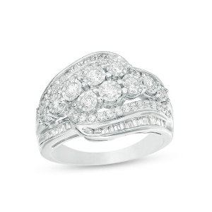 1 CT. T.W. Baguette and Round Diamond Multi-Row Bypass Ring in Sterling Silver - Size 7|Zales