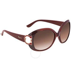 Salvatore Ferragamo Brown Gradient Oval Sunglasses SF668 224