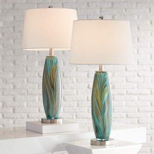 Azure Art Glass Table Lamps Set of 2 - #67V04 | Lamps Plus