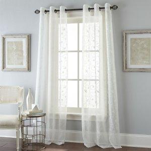 Nanshing White Floral Scroll Grommet-top Window Panel Pair