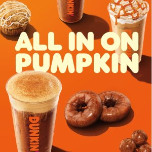 南瓜奶油冷萃、拿铁仅需$3Dunkin Donuts 限时推出 秋季南瓜系列 5款饮品 4款甜点