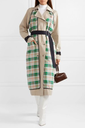 Tibi | Hani convertible check-paneled cotton-twill trench coat | NET-A-PORTER.COM