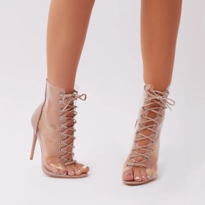 d8666f5711 ... Heels in Red Faux Suede. Giga Clear Perspex Lace Up Ankle Boots in Nude