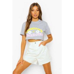 BoohooCropped Positive Energies T Shirt | boohoo