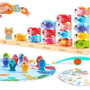 4折$7.2收VATOS 木质磁力小猫钓鱼游戏套装