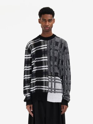 MCQ ALEXANDER MCQUEEN Patchwork Check Crew-Neck Sweater